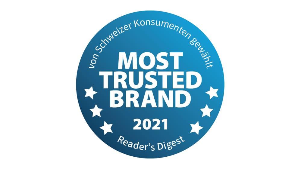 Gütesiegel Most Trusted Brand 2021 von Reader's Digest