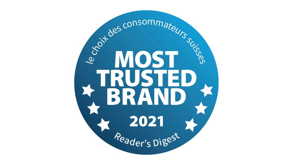 Label de qualité Most Trusted Brand 2021 du Reader's Digest